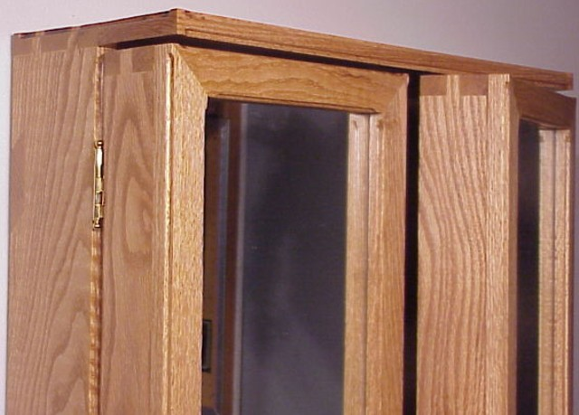 Mountainhaven white oak medicine cabinet for Finger joint wood doors
